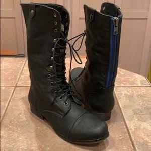 Madden girl edgy tall black combat boot 8.5